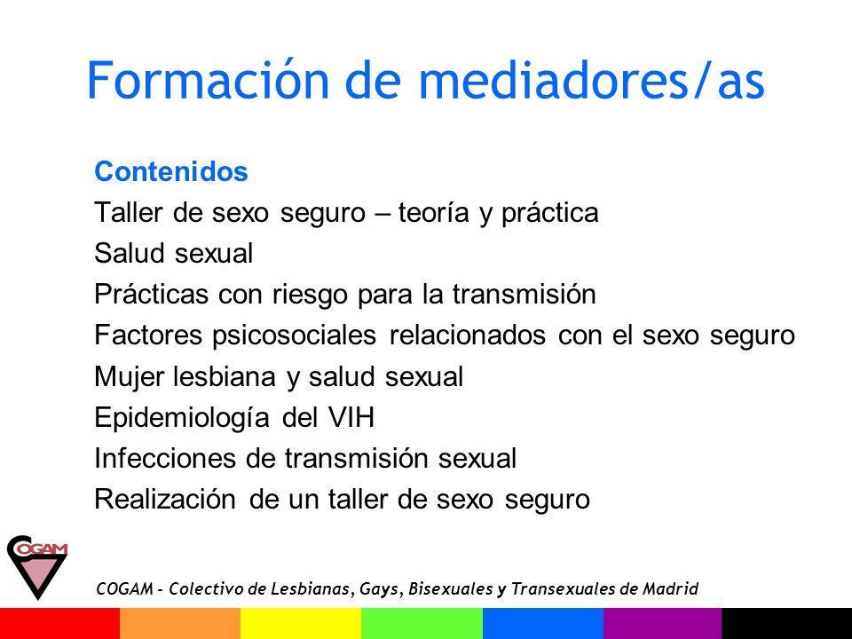 COGAM - Colectivo de Lesbianas, Gays, Bisexuales y Transexuales de Madrid Formación de mediadores/as Contenidos Taller de sexo seguro – teoría y práct