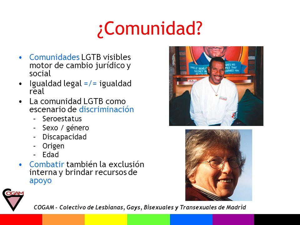 COGAM - Colectivo de Lesbianas, Gays, Bisexuales y Transexuales de Madrid ¿Comunidad? Comunidades LGTB visibles motor de cambio jurídico y social Igua