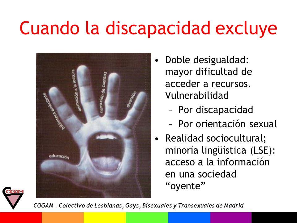 COGAM - Colectivo de Lesbianas, Gays, Bisexuales y Transexuales de Madrid La comunidad LGTB sorda Desde 1996, grupo de sordos/as en COGAM –Normalización lingüística –Socialización – sensibilización –Actividades reivindicativas e informativas.