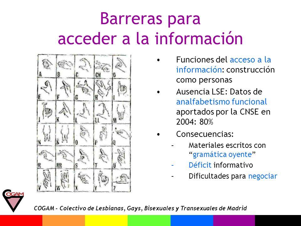 COGAM - Colectivo de Lesbianas, Gays, Bisexuales y Transexuales de Madrid Barreras para acceder a la información Funciones del acceso a la información