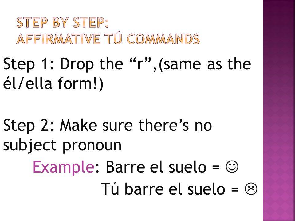 Direct Object pronouns Me = me Us = nos Tú = te Him/Her = lo/la Them = los/las