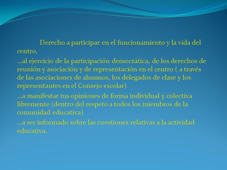 Derecho a participar en el funcionamiento y la vida del centro, …al ejercicio de la participación democrática, de los derechos de reunión y asociación