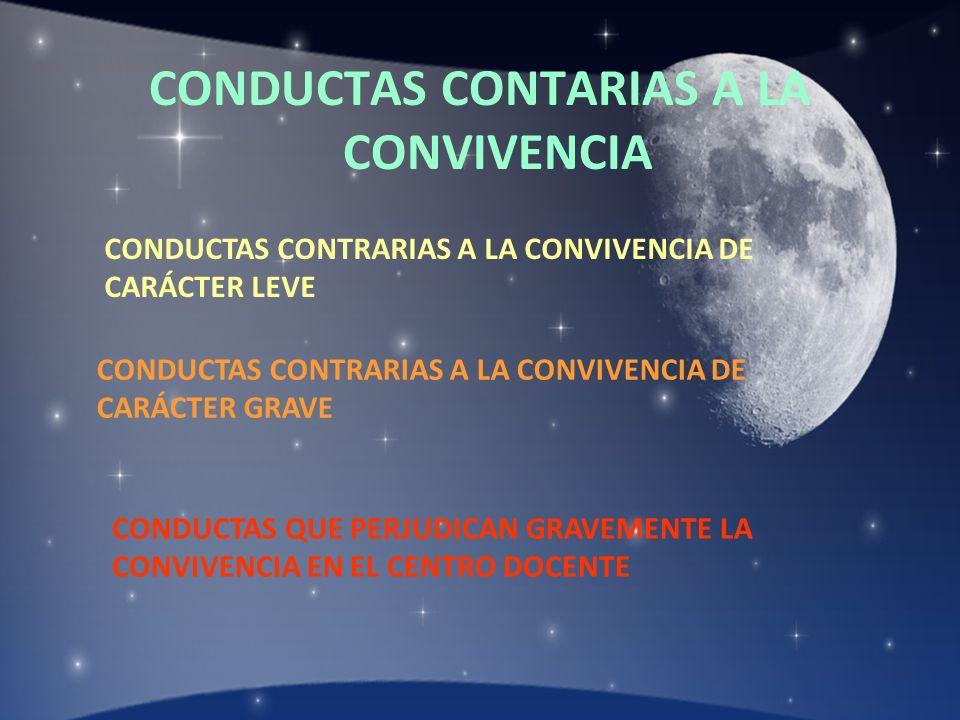 CONDUCTAS CONTARIAS A LA CONVIVENCIA CONDUCTAS CONTRARIAS A LA CONVIVENCIA DE CARÁCTER LEVE CONDUCTAS CONTRARIAS A LA CONVIVENCIA DE CARÁCTER GRAVE CO