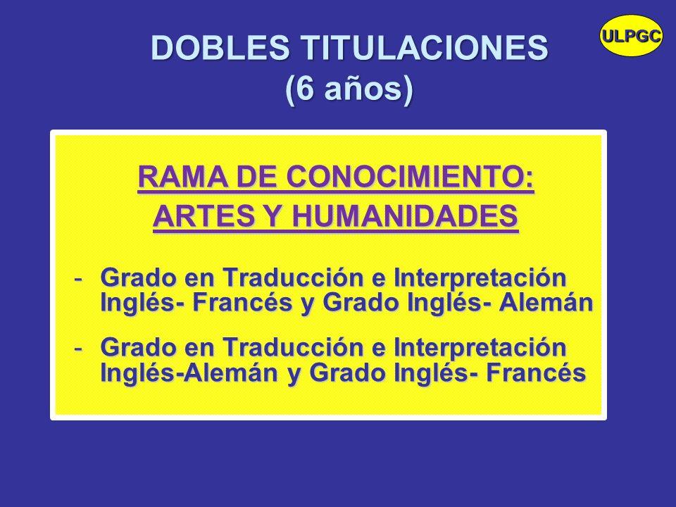 DOBLES TITULACIONES (6 años) RAMA DE CONOCIMIENTO: ARTES Y HUMANIDADES -Grado en Traducción e Interpretación Inglés- Francés y Grado Inglés- Alemán -G