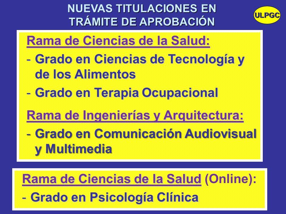 Rama de Ciencias de la Salud: -Grado en Ciencias de Tecnología y de los Alimentos -Grado en Terapia Ocupacional Rama de Ingenierías y Arquitectura: -G