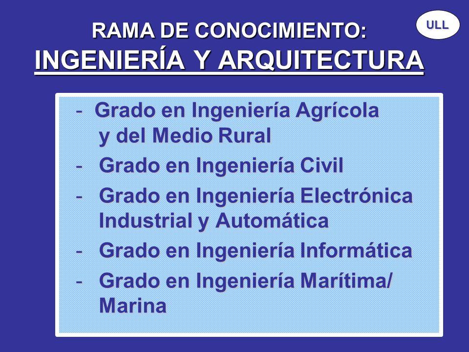 RAMA DE CONOCIMIENTO: INGENIERÍA Y ARQUITECTURA - Grado en Ingeniería Agrícola y del Medio Rural -Grado en Ingeniería Civil -Grado en Ingeniería Elect