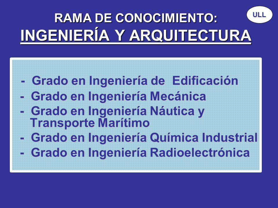 RAMA DE CONOCIMIENTO: INGENIERÍA Y ARQUITECTURA - Grado en Ingeniería de Edificación - Grado en Ingeniería de Edificación - Grado en Ingeniería Mecáni