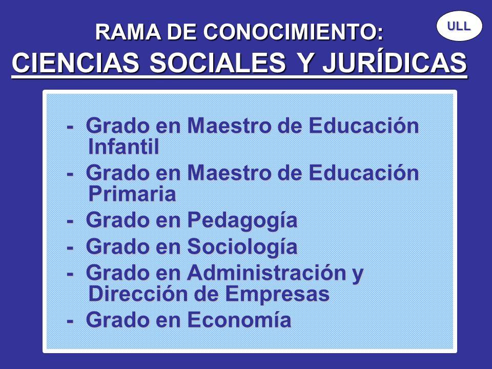 RAMA DE CONOCIMIENTO: CIENCIAS SOCIALES Y JURÍDICAS - Grado en Maestro de Educación Infantil - Grado en Maestro de Educación Infantil - Grado en Maest