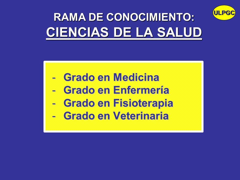 RAMA DE CONOCIMIENTO: CIENCIAS DE LA SALUD -Grado en Medicina -Grado en Enfermería -Grado en Fisioterapia -Grado en Veterinaria ULPGC