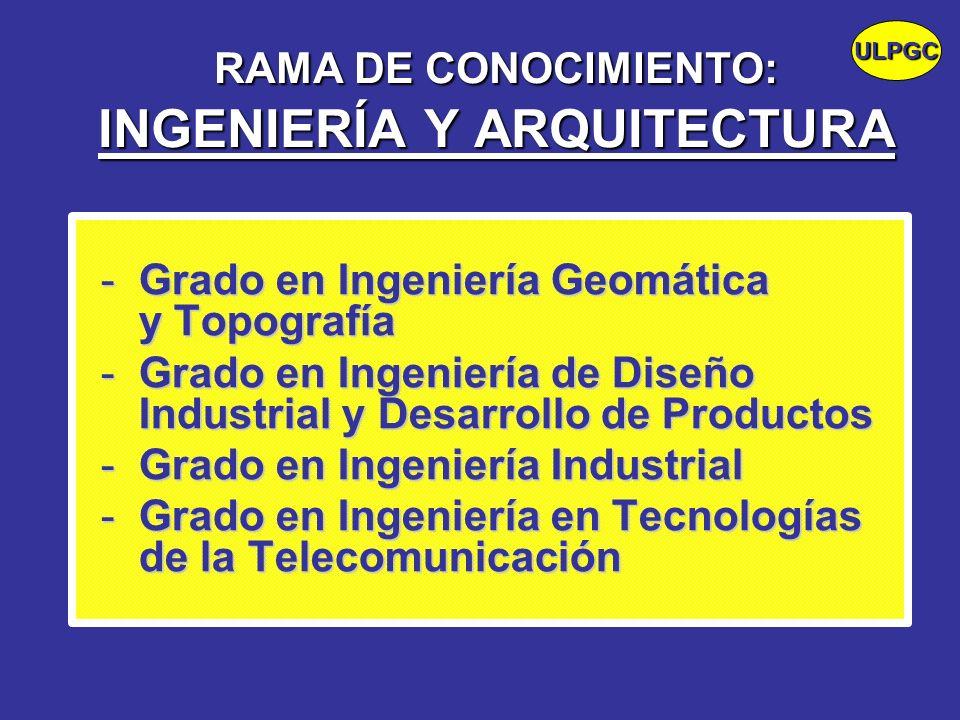 RAMA DE CONOCIMIENTO: INGENIERÍA Y ARQUITECTURA -Grado en Ingeniería Geomática y Topografía -Grado en Ingeniería de Diseño Industrial y Desarrollo de