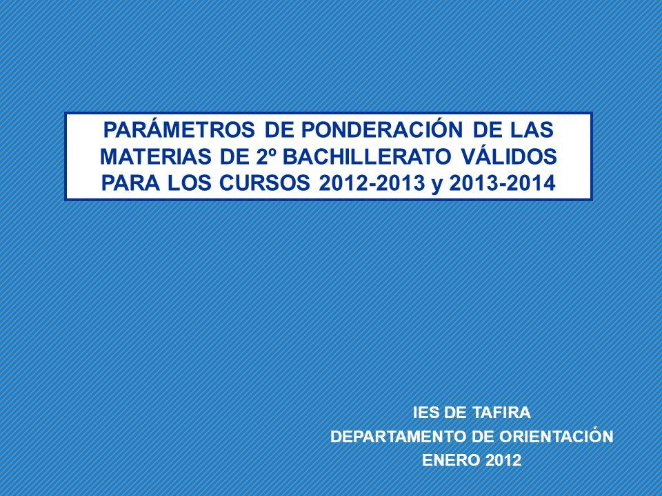 PARÁMETROS DE PONDERACIÓN DE LAS MATERIAS DE 2º BACHILLERATO VÁLIDOS PARA LOS CURSOS 2012-2013 y 2013-2014 IES DE TAFIRA DEPARTAMENTO DE ORIENTACIÓN E