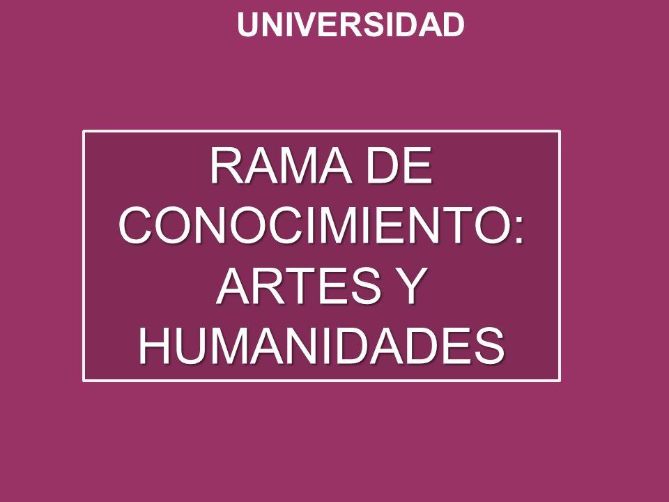 UNIVERSIDAD RAMA DE CONOCIMIENTO: ARTES Y HUMANIDADES