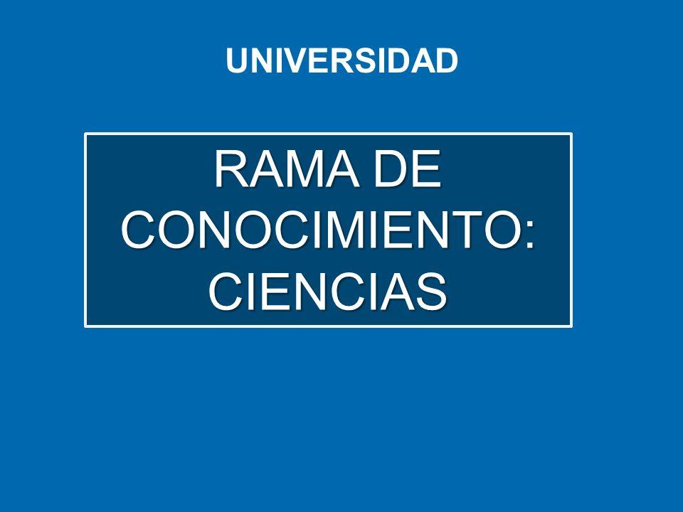 UNIVERSIDAD RAMA DE CONOCIMIENTO: CIENCIAS