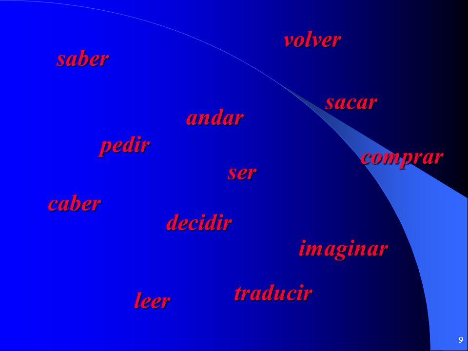 9 saber andar volver comprar pedir ser sacar decidir imaginar caber leer traducir