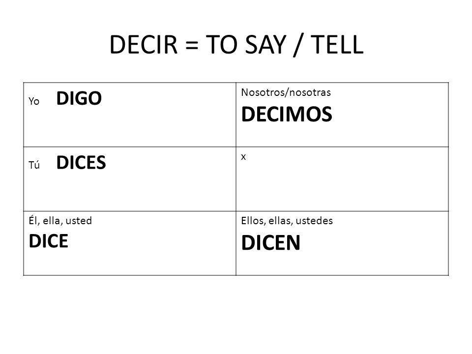 I tell the truth.Yo digo la verdad__ What do you say.