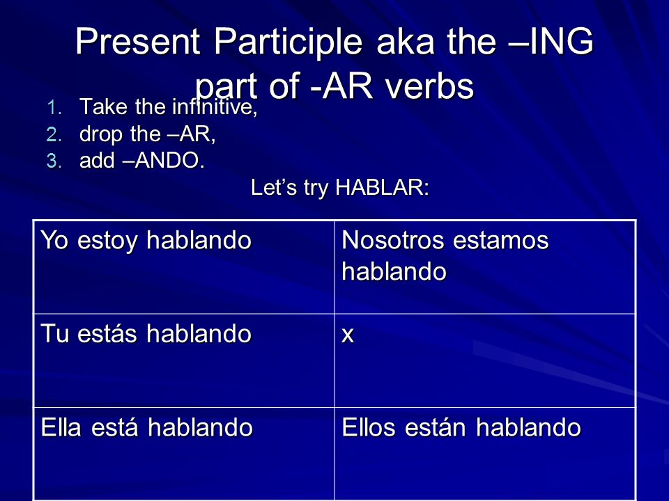 Present Participle aka the –ING part of -AR verbs 1.
