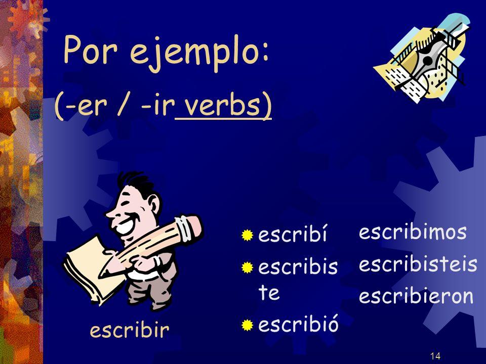 14 (-er / -ir verbs) escribí escribis te escribió escribimos escribisteis escribieron Por ejemplo: escribir