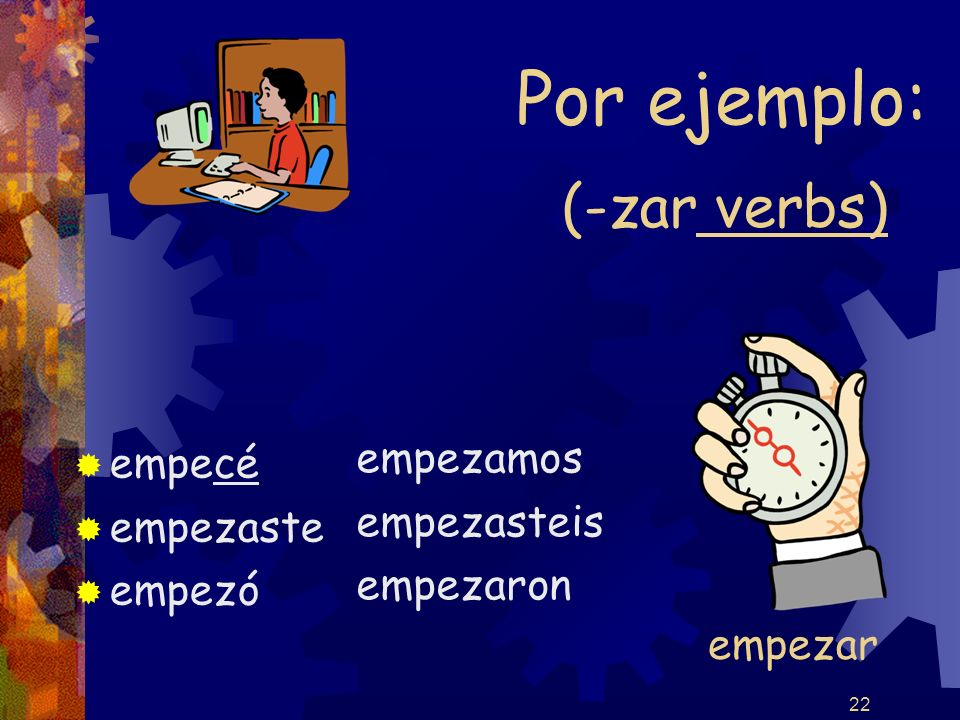 22 (-zar verbs) empecé empezaste empezó empezamos empezasteis empezaron Por ejemplo: empezar