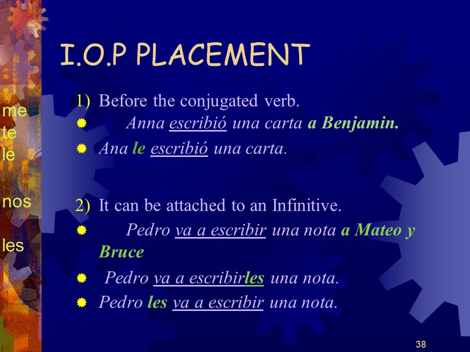 38 I.O.P PLACEMENT 1) Before the conjugated verb. Anna escribió una carta a Benjamin.