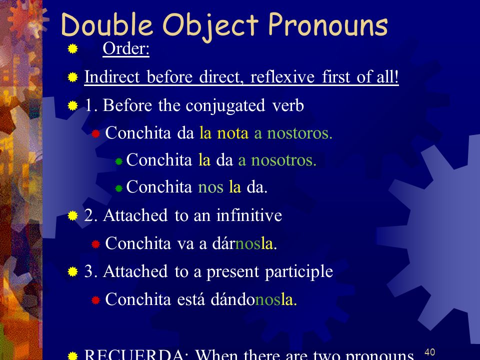 40 Double Object Pronouns Order: Indirect before direct, reflexive first of all! 1. Before the conjugated verb Conchita da la nota a nostoros. Conchit