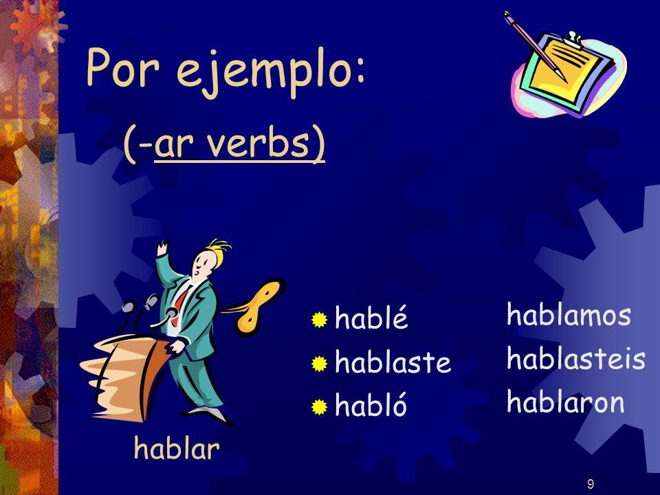 9 (-ar verbs) hablé hablaste habló hablamos hablasteis hablaron Por ejemplo: hablar