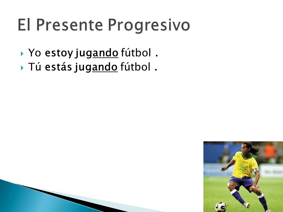 To form the present progressive in Spanish: 1.Use the correct form of the verb estar + 2.