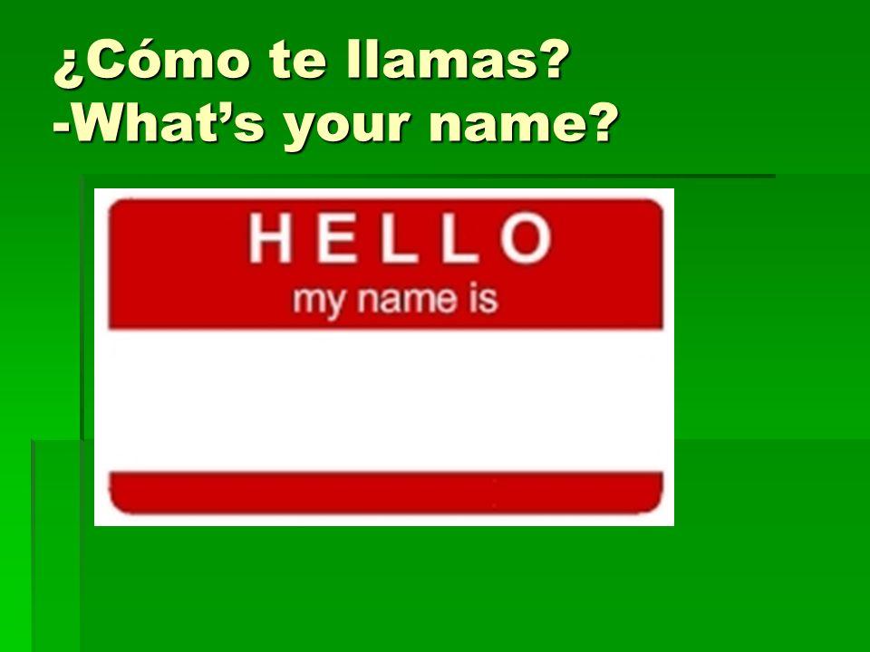¿Cómo te llamas? -Whats your name?