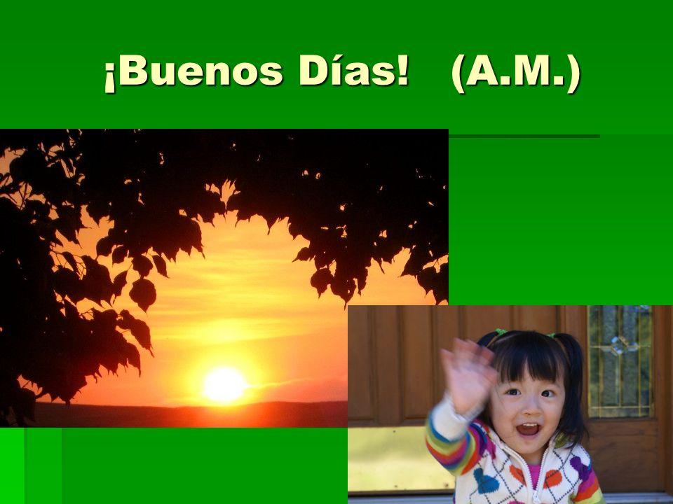 ¡Buenos Días! (A.M.) Good Morning!