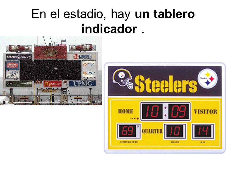 En el estadio, hay un tablero indicador.