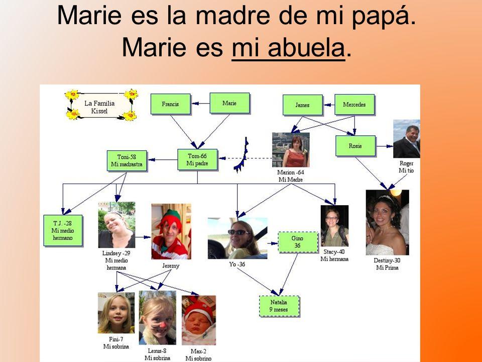 Marie es la madre de mi papá. Marie es mi abuela.