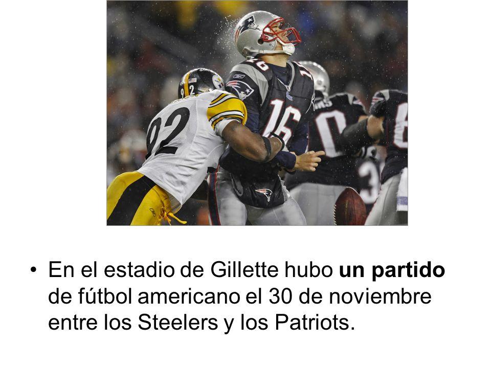 En el estadio de Gillette hubo un partido de fútbol americano el 30 de noviembre entre los Steelers y los Patriots.