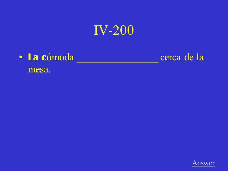 IV-100 Mi cuarto ___________ verde y azul. Answer.