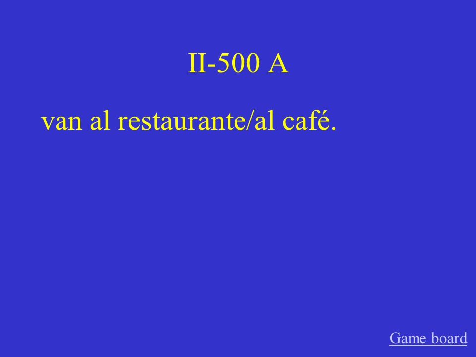 II-400 A Nosotros vamos a comer bistec. Game board
