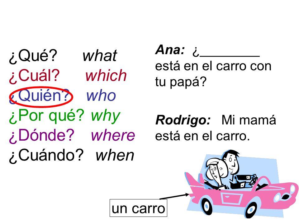 ¿Qué? what ¿Cuál? which ¿Quién? who ¿Por qué? why ¿Dónde? where ¿Cuándo? when Ana: ¿________ está en el carro con tu papá? Rodrigo: Mi mamá está en el