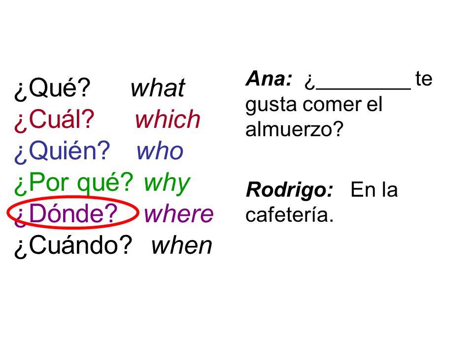 ¿Qué? what ¿Cuál? which ¿Quién? who ¿Por qué? why ¿Dónde? where ¿Cuándo? when Ana: ¿________ te gusta comer el almuerzo? Rodrigo: En la cafetería.