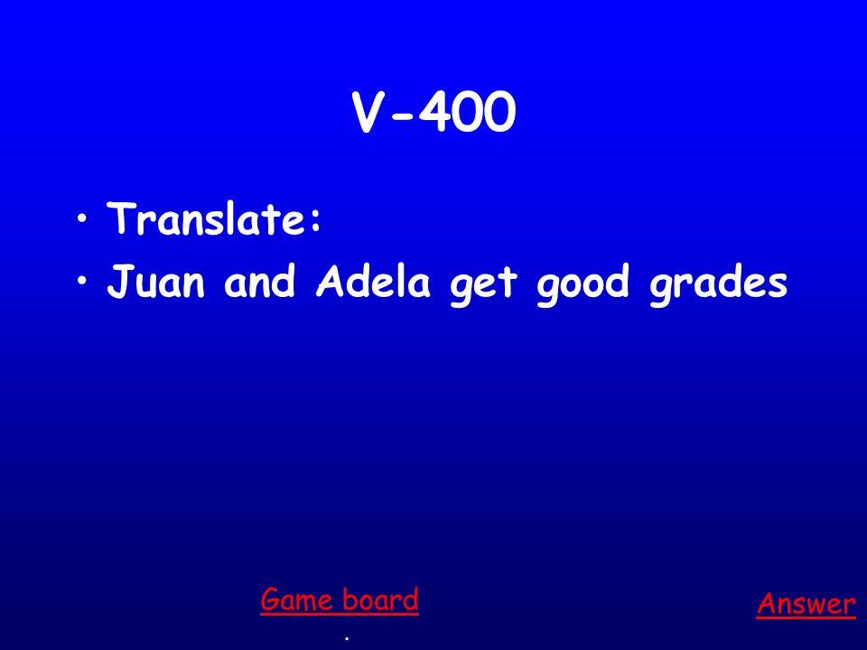 V-400 Translate: Juan and Adela get good grades Answer. Game board