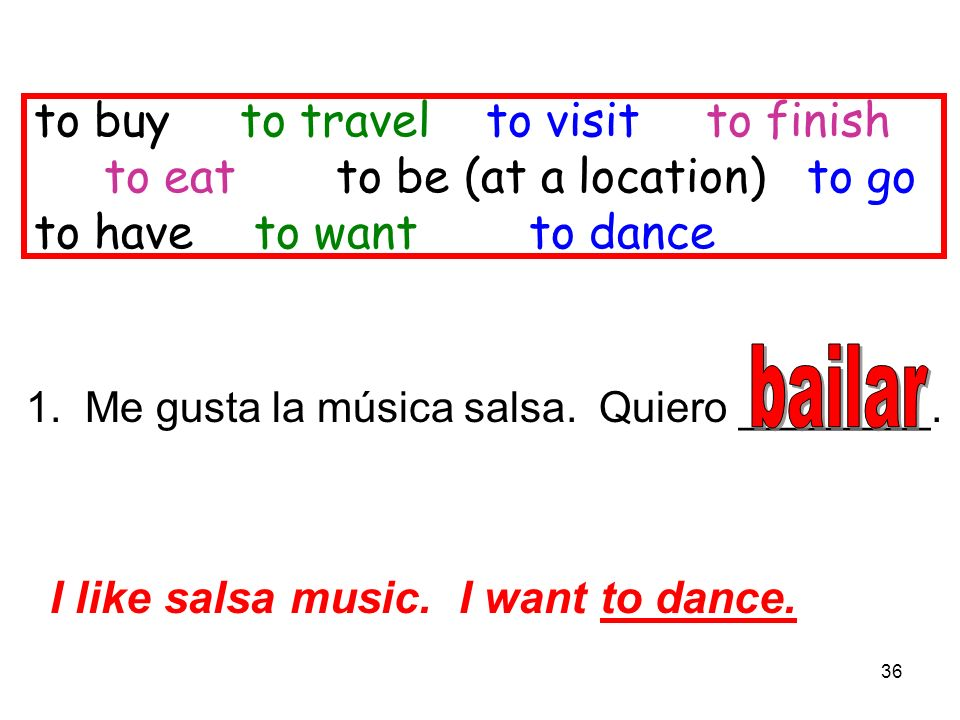 36 to buy to travel to visitto finish to eat to be (at a location) to go to have to want to dance 1. Me gusta la música salsa. Quiero ________. I like