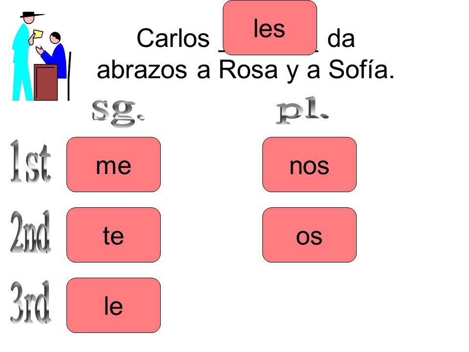 Carlos _______ da abrazos a Rosa y a Sofía. me le te les os nos