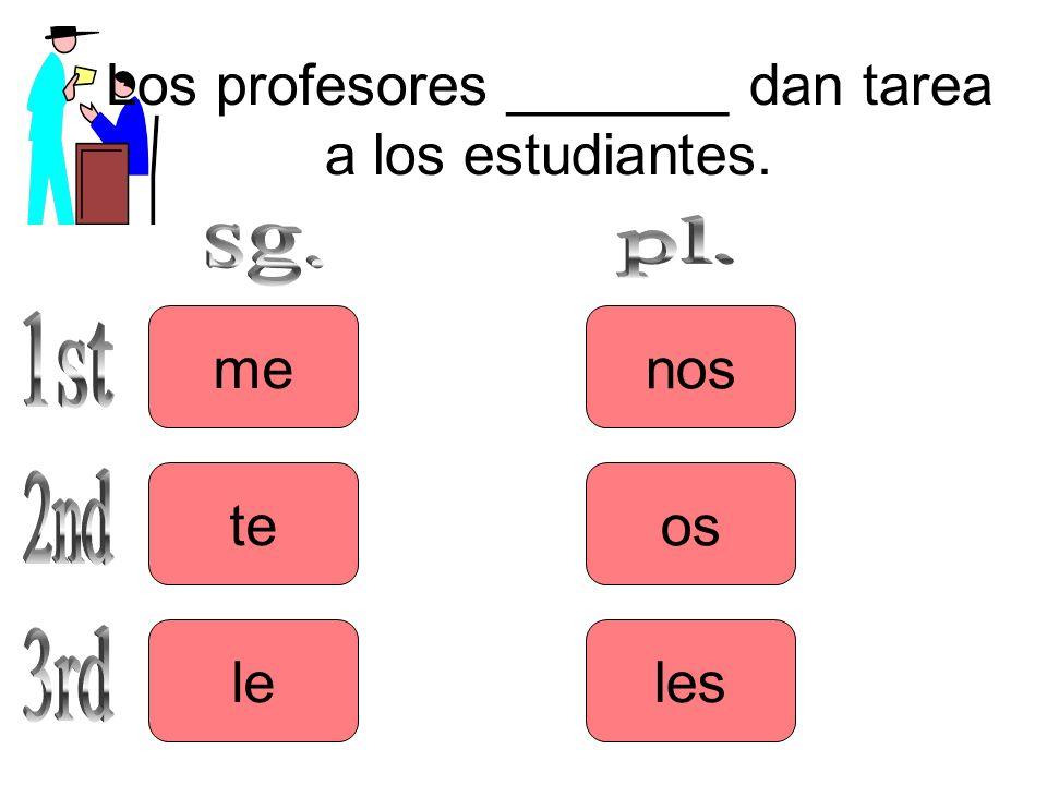 Los profesores _______ dan tarea a los estudiantes. me le te les os nos