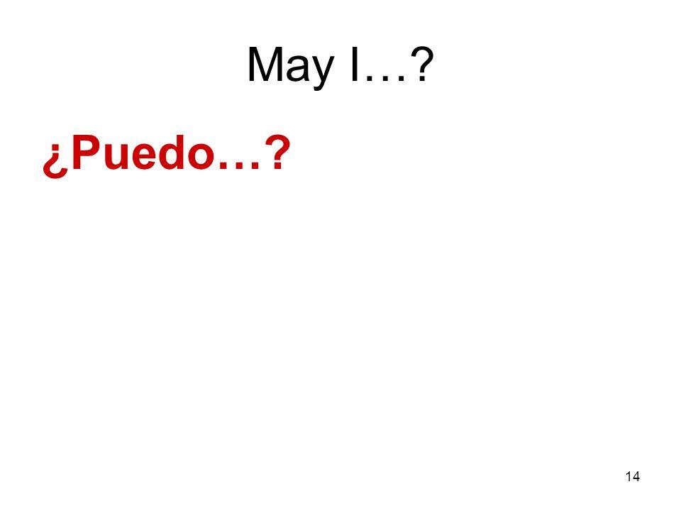 14 May I…? ¿Puedo…?