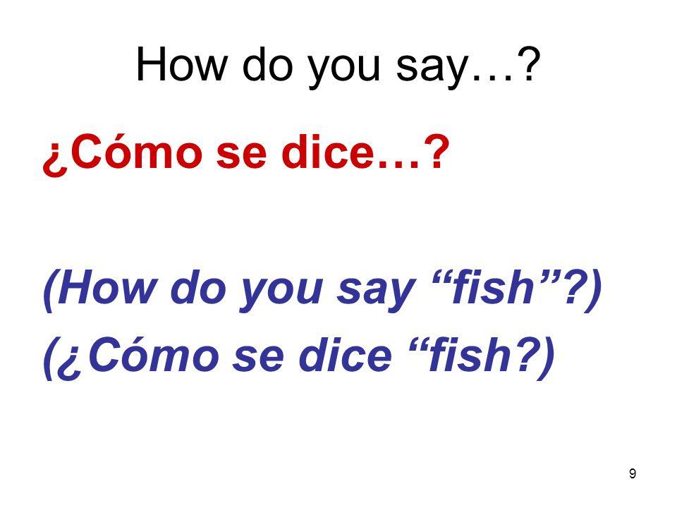 9 How do you say…? ¿Cómo se dice…? (How do you say fish?) (¿Cómo se dice fish?)