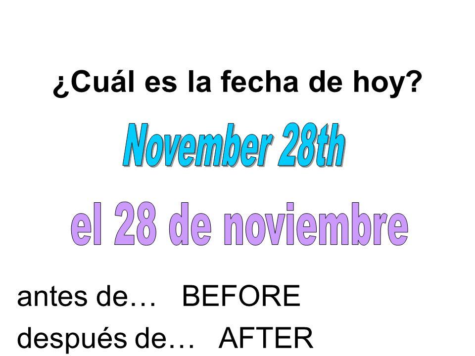 ¿Cuál es la fecha de hoy? antes de… BEFORE después de… AFTER