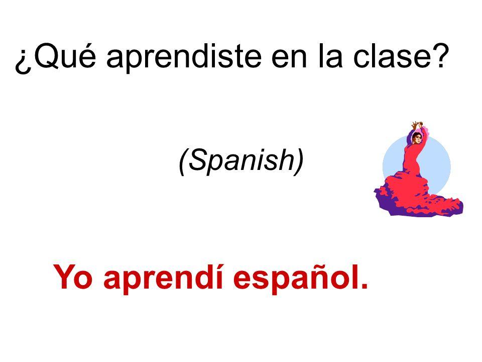¿Qué aprendiste en la clase Yo aprendí español. (Spanish)