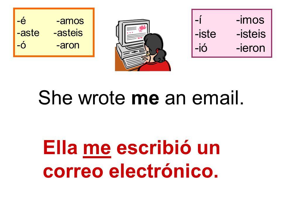 -é -amos -aste -asteis -ó -aron -í -imos -iste -isteis -ió -ieron She wrote me an email.