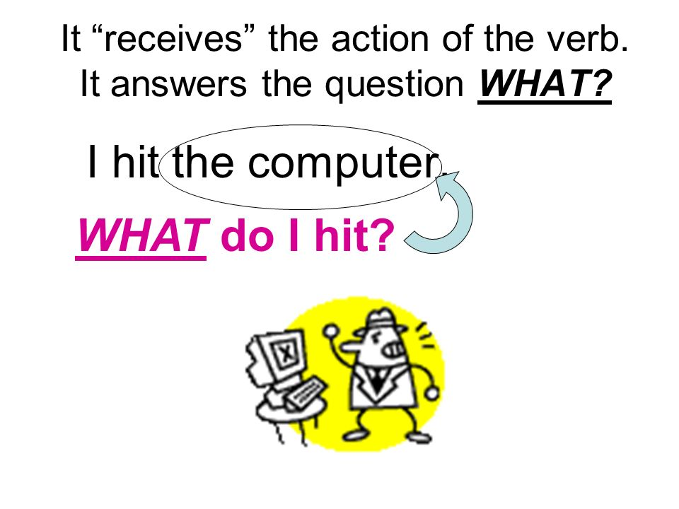 It receives the action of the verb. It answers the question WHAT? I hit the computer. WHAT do I hit?