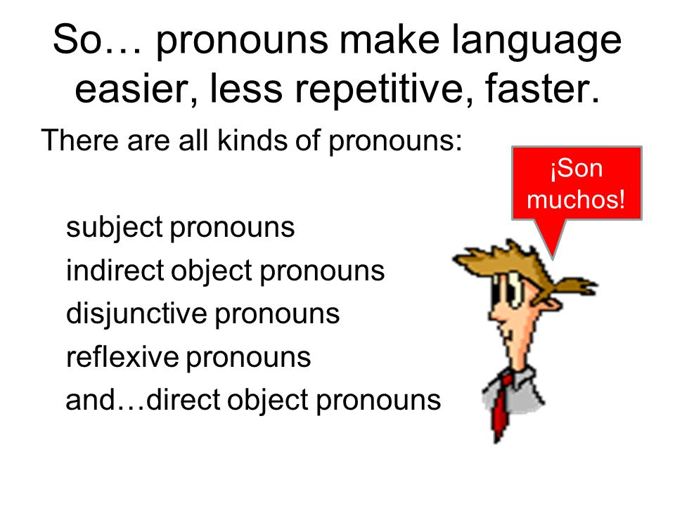 Just direct object pronouns for now, please!