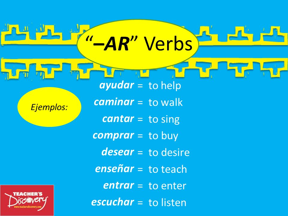–ar Lets look at the largest of these families, the –ar verb family. Verb Families 3 There are 3 families of verbs in Spanish. They are determined by