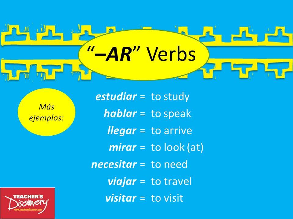 –AR Verbs Ejemplos: = to help = to walk = to sing = to buy = to desire = to teach = to enter = to listen ayudar caminar cantar comprar desear enseñar entrar escuchar