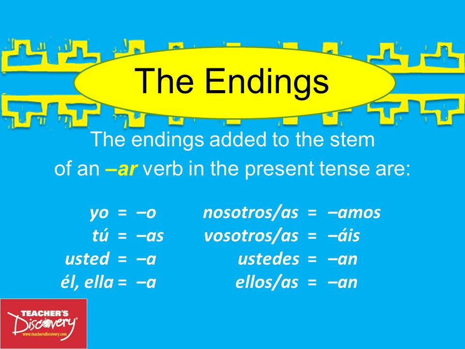 Ejemplo: yohablar ar habl–. To make the yo form of the verb hablar (to speak), take the infinitive, drop the –ar and you have the stem: habl–. ohabl–.