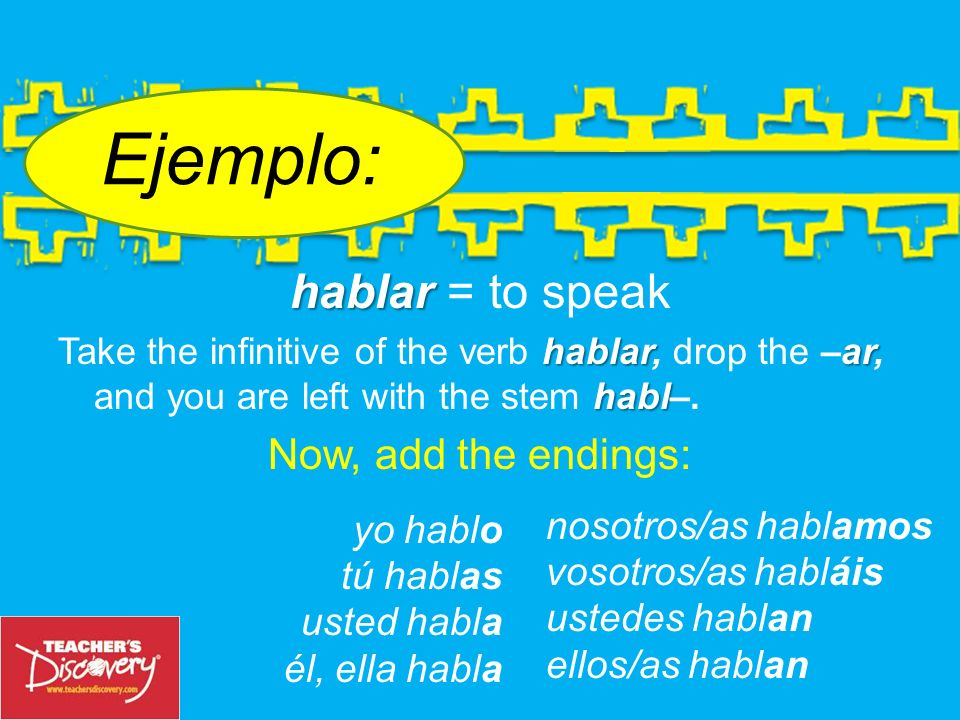 The endings added to the stem of an –ar verb in the present tense are: The Endings yo = tú = usted = él, ella = –o–o –as –a nosotros/as = vosotros/as = ustedes = ellos/as = –amos –áis –an
